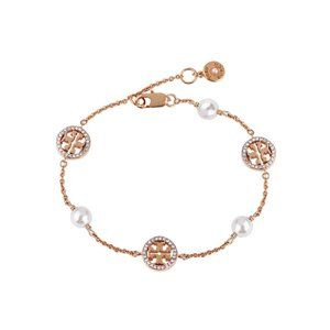 🎁Tory Burch Pearl Asymmetric Glossy Logo Bracelet